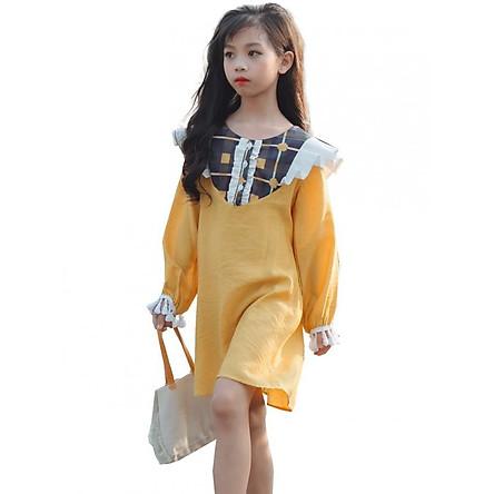 Váy lụa tằm phối bèo Harmony LK0216