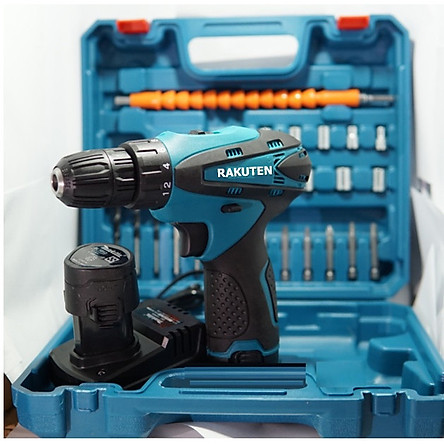 Bộ máy khoan pin RAKUTEN 12V  khoan sắt, khoan gỗ máy 2 pin, đảo chiều và mũi khoan