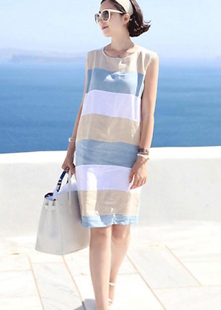 Đầm suông nữ không tay, đầm kẻ nữ Haint Boutique Da14