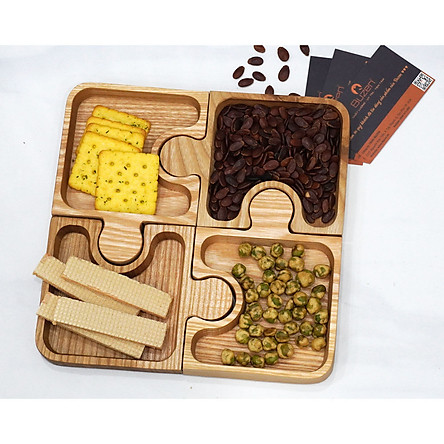 Khay gỗ decor đựng hạt dưa mứt tết BUZEN- Gỗ Tần Bì tự nhiên An toàn