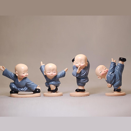 Bộ tượng Bốn Chú Tiểu múa võ cao 7CM