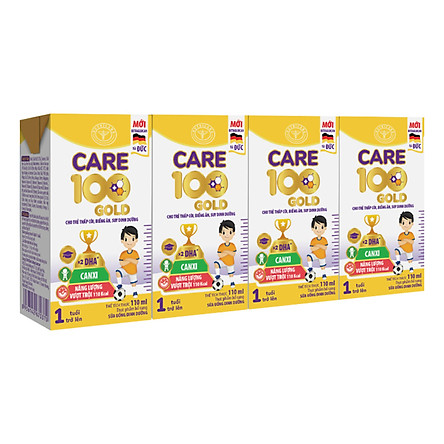 Thùng sữa nước Nutricare Care 100 Gold - phát triển toàn diện cho trẻ từ 1 tuổi (110ml x 48 hộp)