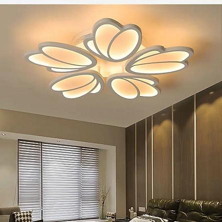 Đèn Led Ốp Trần Trang Trí Phòng Khách, Phòng Ngủ Hiện Đại Hình Hoa 5 Cánh Mẫu V28 Có Kèm Điều Khiển
