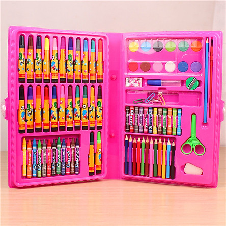 Bộ dụng cụ vẽ cho bé - Hộp bút chì màu đa năng 86 món tiện dụng_HBCM02
