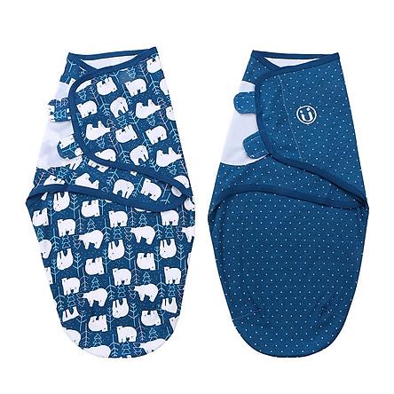 insular Baby Swaddle Wrap Blanket 2 Pack Soft Cotton Cartoon Pattern Adjustable Infant Sleeping Blankets (Large 5-7