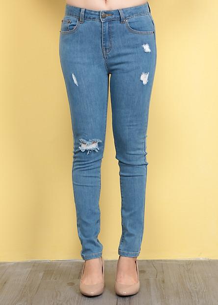 Quần Jeans Nữ Rách 005 - Xanh