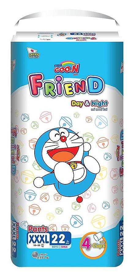 Combo 3 gói tã Goo.n Friend M54/L46/XL40/XXL34/XXXL22 + 6 miếng tặng xe 3 bánh và đồ chơi Toys House cho bé