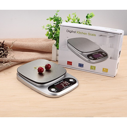 Cân nhà bếp 10kg độ chia sai số 1g cao cấp trắng bạc( Kèm pin )