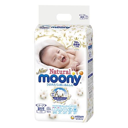 Tã Dán Moony Natural Bông Organic Newborn 63 (63 Miếng)