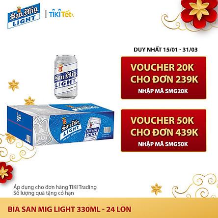 Thùng 24 Lon Bia SAN MIGUEL Light 330 ml