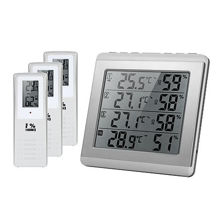 Thiết Bị Đo Nhiệt Và Độ Ẩm Màn Hình LCD Trắng Bạc (4 Kênh) (3 Điều Khiển)
