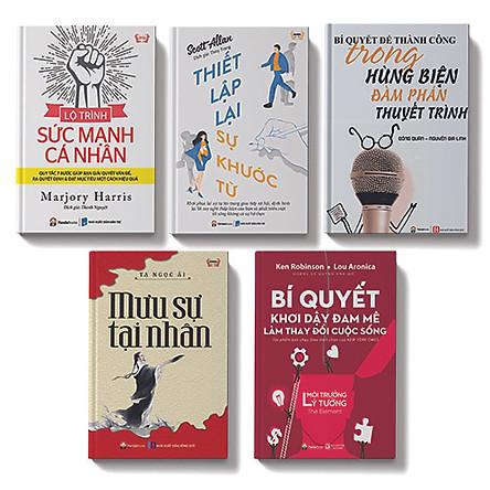 Bộ sách 5 cuốn:Lộ trình sức mạnh cá nhân,Thiết lập lại sự khước từ, Bí quyết thành công trong hùng biện đàm phán thuyết trình, Bí quyêt khơi đậy đam mê làm thay đổi cuộc sống, Mưu sự tại nhân