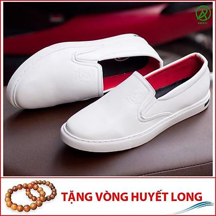 Giày Slip On Nam Aroti Đế Khâu Chắc Chắn Phong Cách Đơn Giản Màu Trắng - M498-TRANG(HL)-Tặng Vòng Gỗ Huyết Long