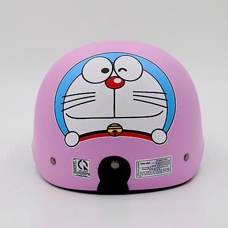 Mũ Bảo Hiểm Nửa Đầu Thời Trang Tem Doremon Nhiều Màu_ Lồng ép nhiệt dây khóa đỏ cao cấp_ Nón bảo hiểm 1/2 đầu