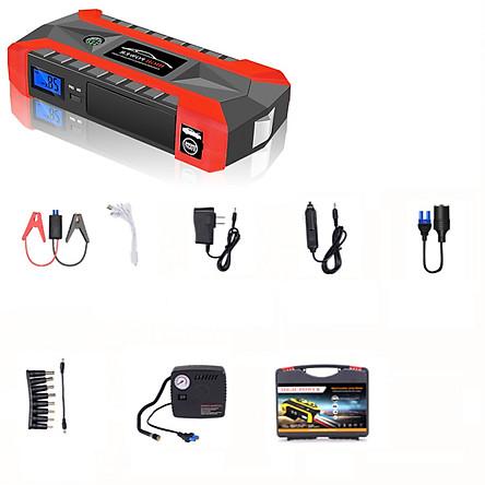 Bộ kích điện nổ máy oto xe hơi + Tặng Máy Bơm lốp xe + Vali phụ kiện - HJX29