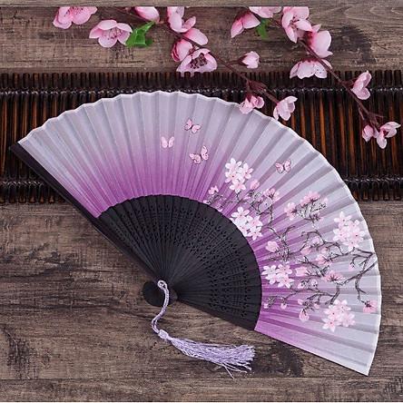 Quạt cổ phong dây tuyến TÍM ĐÀO NỞ quạt xếp cầm tay phong cách Trung Quốc phong cách cổ trang