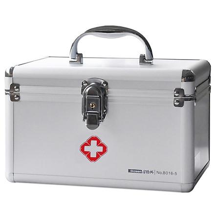 Jinlongxing (Glosen) B016-3 aluminum alloy first aid box 16-inch family double-layer medicine box storage box