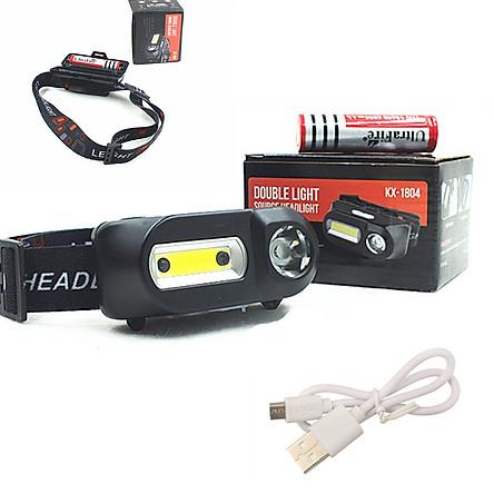 Đèn Pin Đội Đầu Siêu Sáng Sài Pin, Sạc USB Bóng Ngang - Hàng Nhập Khẩu