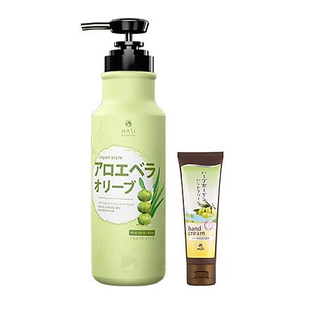 Combo Kem dưỡng da tay và Sữa tắm Hasi Kokeshi dưỡng ẩm, trắng da chiết xuất Aloe Vera - Olive