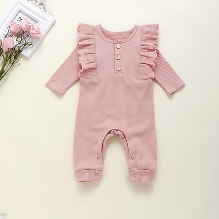 Spring Autumn Casual Jumpsuits Newborn Baby Girls Solid Color Long Sleeve Rompers Clothes for Kids Bodysuits Costume