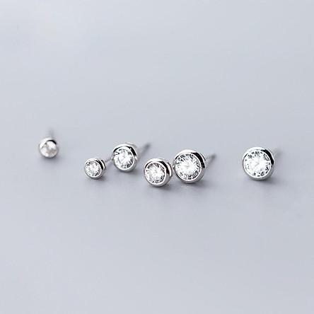 Khuyên tai bạc nụ đá ổ tròn, Bông tai bạc nữ Duyson Silver