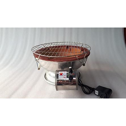 Bếp lẩu nướng than hoa tại bàn cải tiến có quạt gió sạc điện 30cm kèm vĩ nướng có chân cao