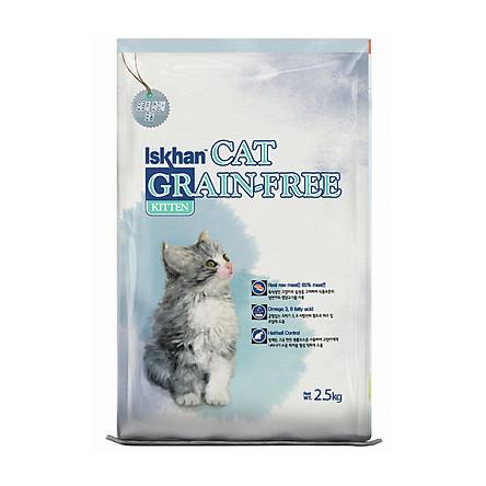 Thức ăn Hàn Quốc Ngừa dị ứng viêm da Cho Mèo Iskhan Cat Grain Free Kitten 2.5kg