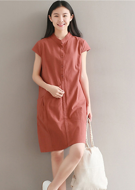 Đầm suông chất đũi cổ trụ phối túi bên hông LAHstore, chất vải mềm mát thích hợp mùa hè, thời trang Hàn Quốc
