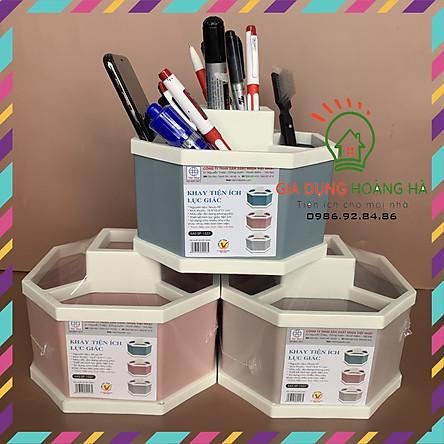 Khay nhựa tiện ích 4 ngăn, lục giác để bàn, đựng đồ, khay nhựa 4 ngăn, đựng bút, đồ dùng đa năng