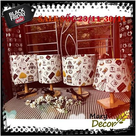 Đèn ngủ DB-K05 - HÀNH LÝ, đèn bàn ngủ chân gỗ cao cấp, chao vải bố linen dễ thương, công tắc bật tắt, kèm bóng