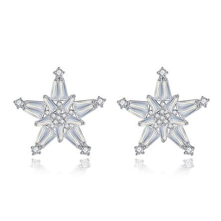 Bông tai khuyên tai bạc S925 ngôi sao năm cánh sát tai