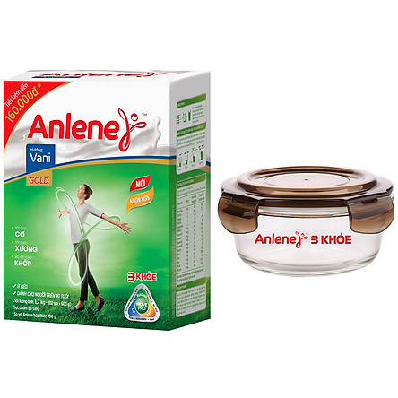 Sữa Bột Anlene Gold Movepro Hương Vanilla (Hộp 1kg2) Tặng 01 Thố Thuỷ Tinh