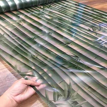 Giấy dán kính cây tre cây trúc màu xanh - khổ 90cm - có sẵn keo