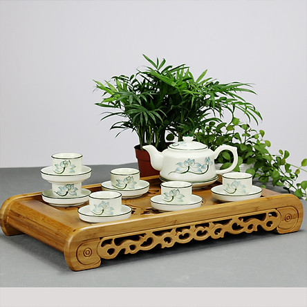 Bộ ấm chén men kem hoa sen xanh gốm sứ Bát Tràng (bộ bình uống trà, bình trà)