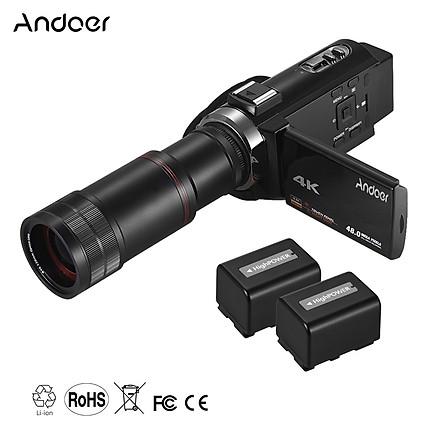 Máy Ảnh Andoer 4K HD Zoom 16X Màn Hình Cảm Ứng 3 Inch Wifi Với 2 Pin + Ống Kính 8X - Đen