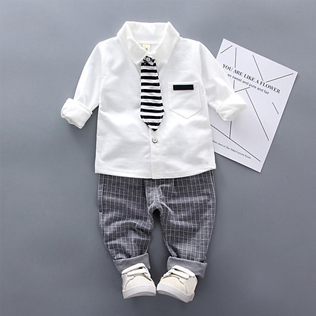 Baby Boy Clothes Fashion Solid Print Long Sleeve Shirt Blouse Plaid Trousers Casual Outfits Clothes