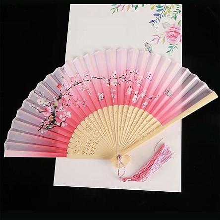 Quạt xếp cầm tay hồng cành đào nan 21cm dây tuyến cổ trang phong cách Trung Quốc tặng ảnh Vcone