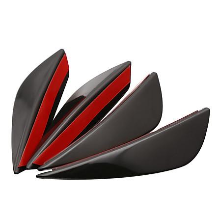 4Pcs/set  Black Carbon Fiber Fit Front Bumper Lip Splitter Fin Air Knife Auto Body Kit Valence Chin Accessory