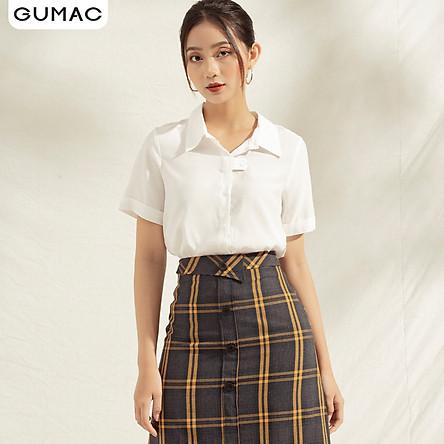 Áo sơ mi nữ thiết kế tay ngắn GUMAC AA11103