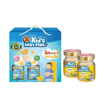 Lốc Nước Yến Kid's Nest Plus+ Hương Cam (6 lọ x 70ml) tặng 2 Lọ Nước Yến KNP