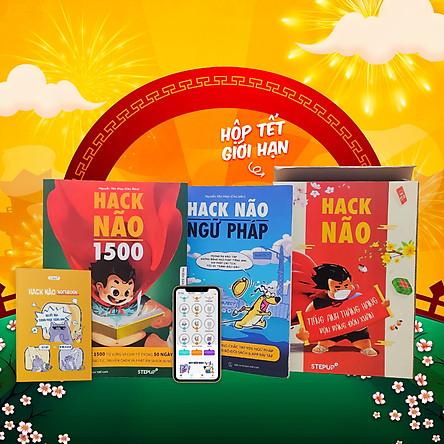 [Hộp sách Tết 2021 - Phiên bản giới hạn] Combo 2 sách Hack Não 1500 + Hack Não Ngữ Pháp + Sổ tay Hack Não Notebook - Tặng App học phát âm và ngữ pháp tiếng Anh miễn phí