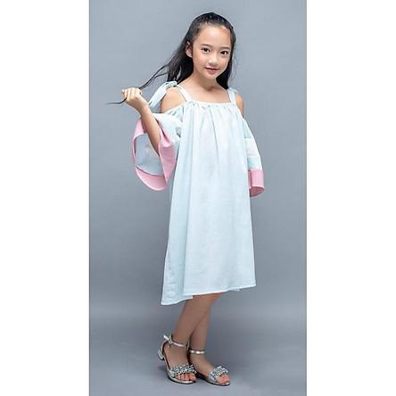 Váy hai dây xanh da trời phối tay PaPa LK0245