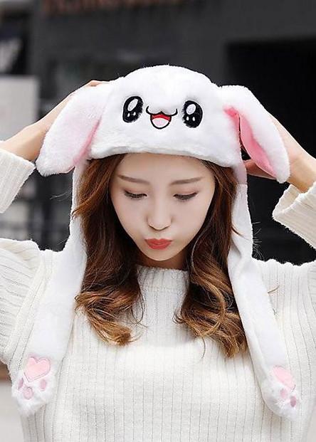 Nón bóp tai thỏ bóp màu trắng dễ thương