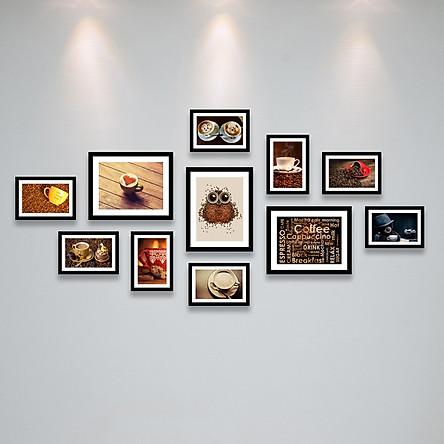 Bộ Khung Hình Treo Tường Trang Trí Quán Cafe (Cà Phê) Đẹp Và Chất Tặng Kèm bộ ảnh như hình mẫu, đinh treo tranh và sơ đồ treo - PGC255