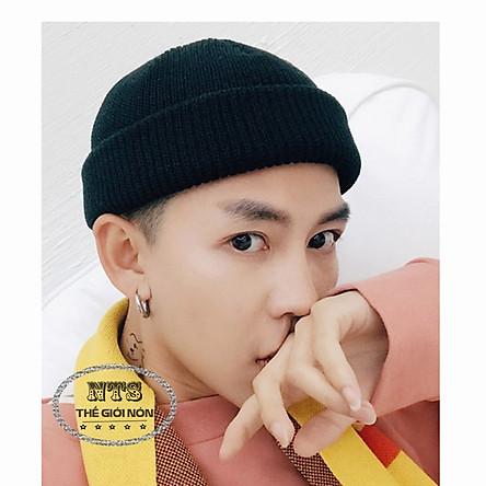 Mũ len trùm đầu phong cách, Nón len trơn màu phong cách  dành cho cả nam và nữ - Màu Đen