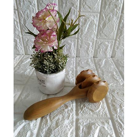 Cây lăn massage toàn thân bằng gỗ Bách Xanh quý 3 bánh lăn - MX3B