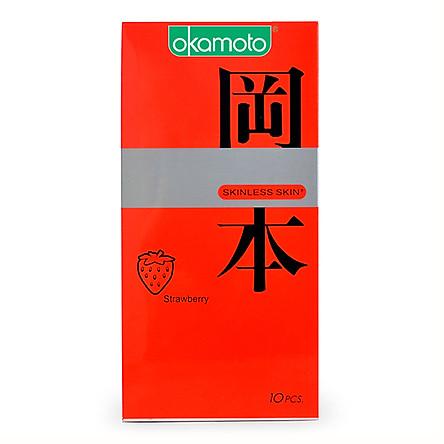 Bao Cao Su Okamoto Skinless Skin Strawberry (Hộp 10 Gói)