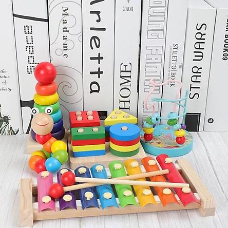 Combo 5 món đồ chơi gỗ an toàn cho bé - phát triển trí tuệ