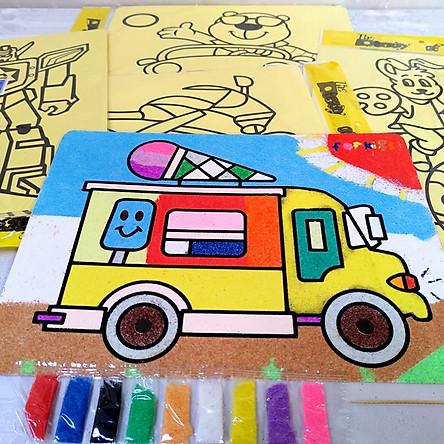 COMBO 10 tranh A4 tô tranh cát nền vàng cho bé (giao mẫu ngẫu nhiên )