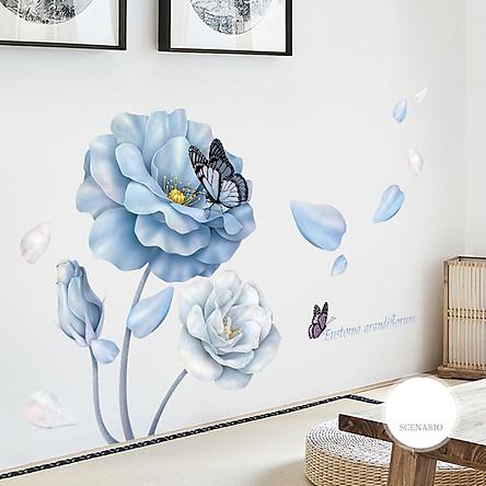 Decal dán tường chất liệu PVC loại 1 dày dặn, sắc nét,không độc hại, chuyên trang trí phòng khách, phòng ngủ, trang trí quán cafe,trang trí phòng ngủ cho bé-hoa hồng xanh- mã sản phẩm QR9504